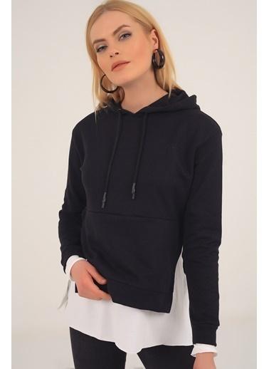 Emjey Kapüşonlu Bel Garnili Sweatshirt Siyah